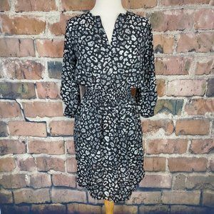 Bar III Dress 3/4 Sleeve Black White Floral M